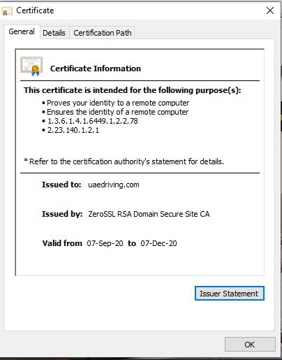 Testing the new SSL certificate